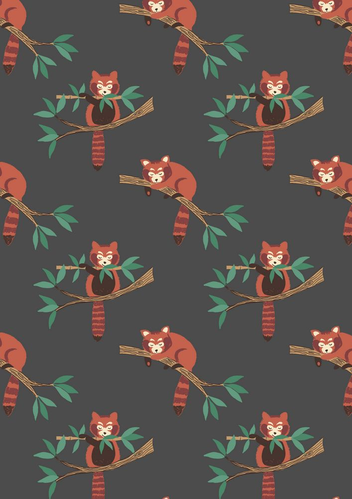 A118.3 - Red panda on dark grey