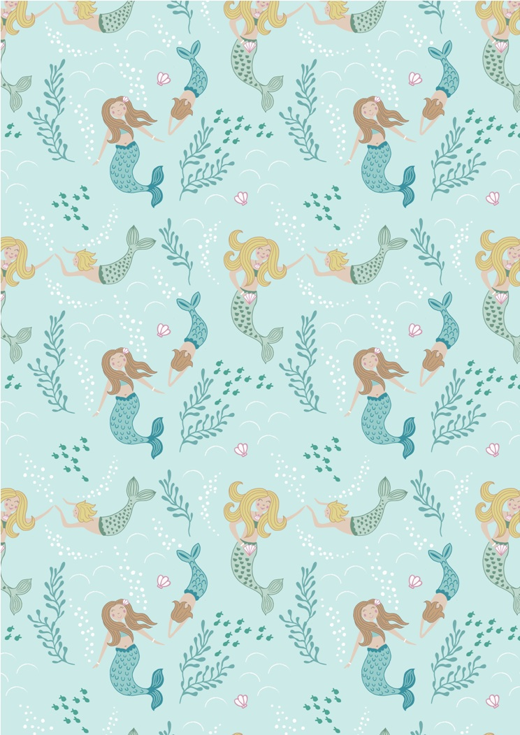 A138.1 - Mermaids on light blue