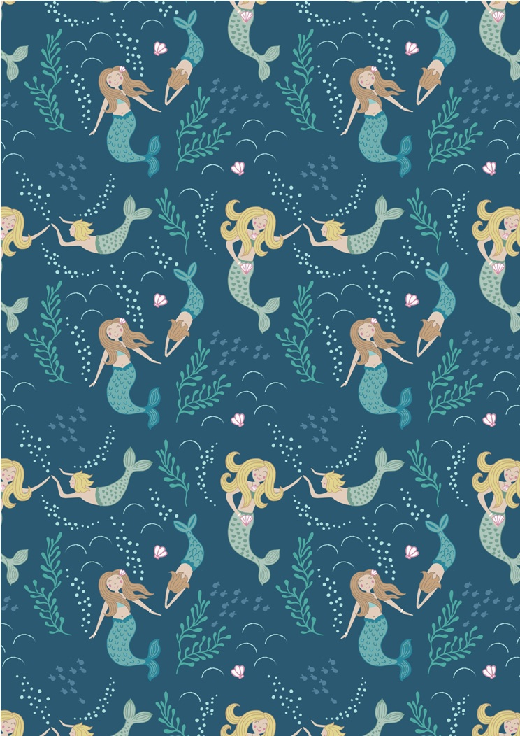 A138.3 - Mermaids on dark blue
