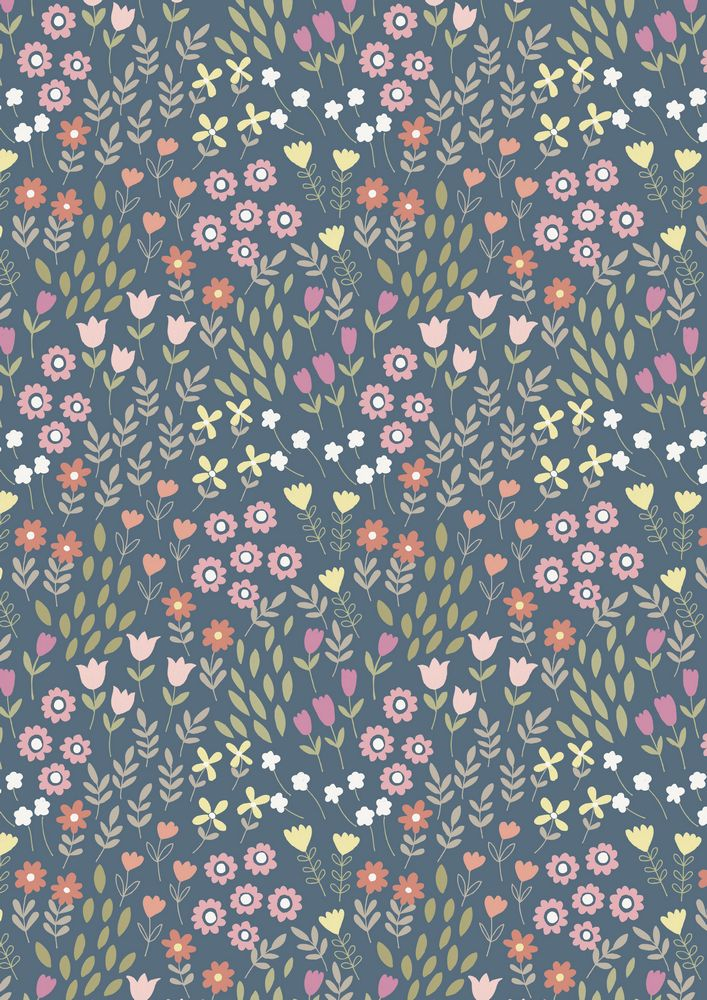 A147.3 - Pretty flowers on denim
