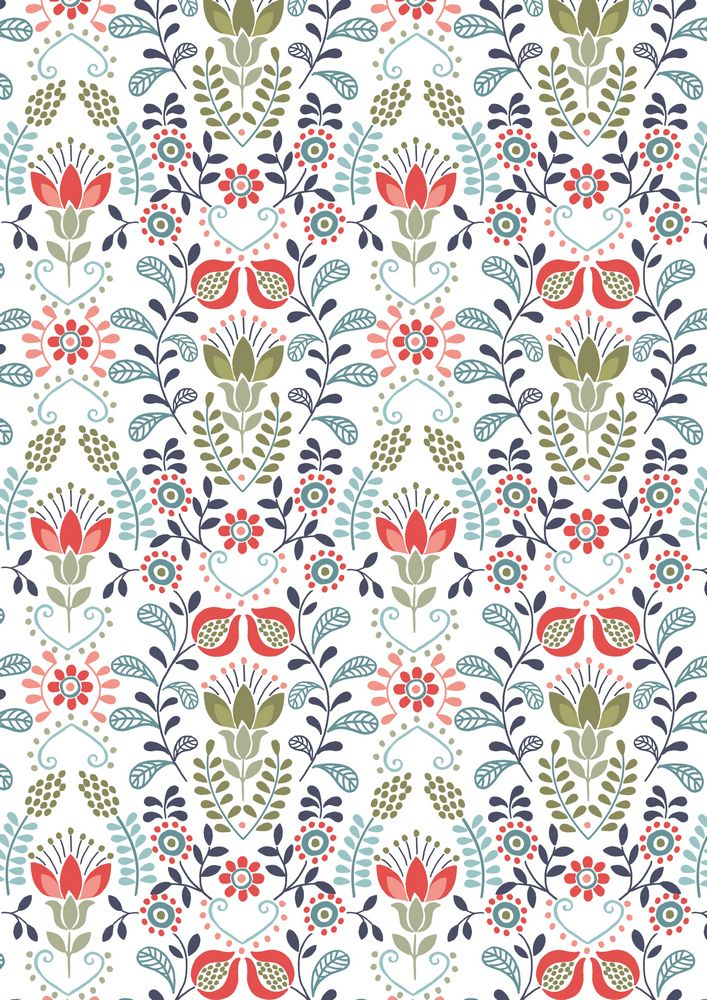 A97.2 - Blue & green flower garden on cornish cream