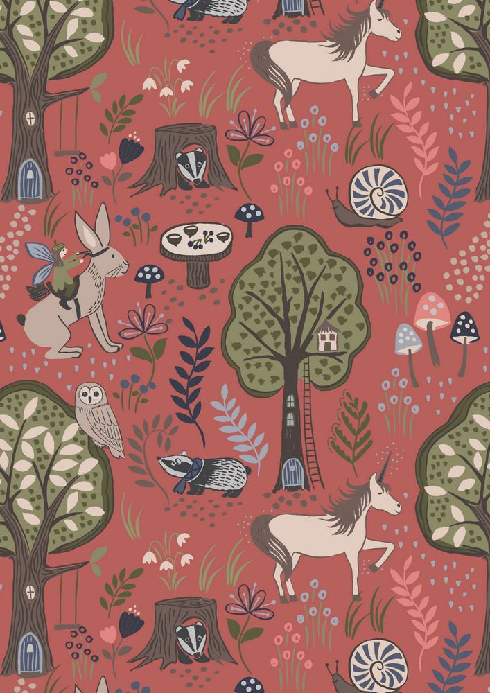 A185.2 - Enchanted forest on dusky red