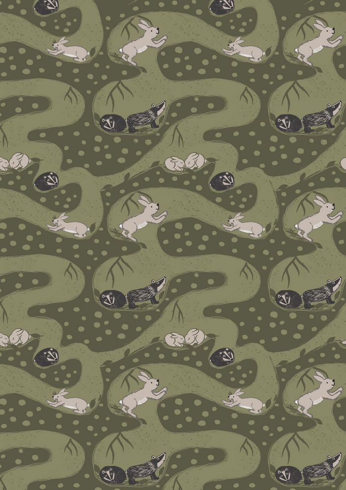 A188.3 - Bunny tunnels on forest green