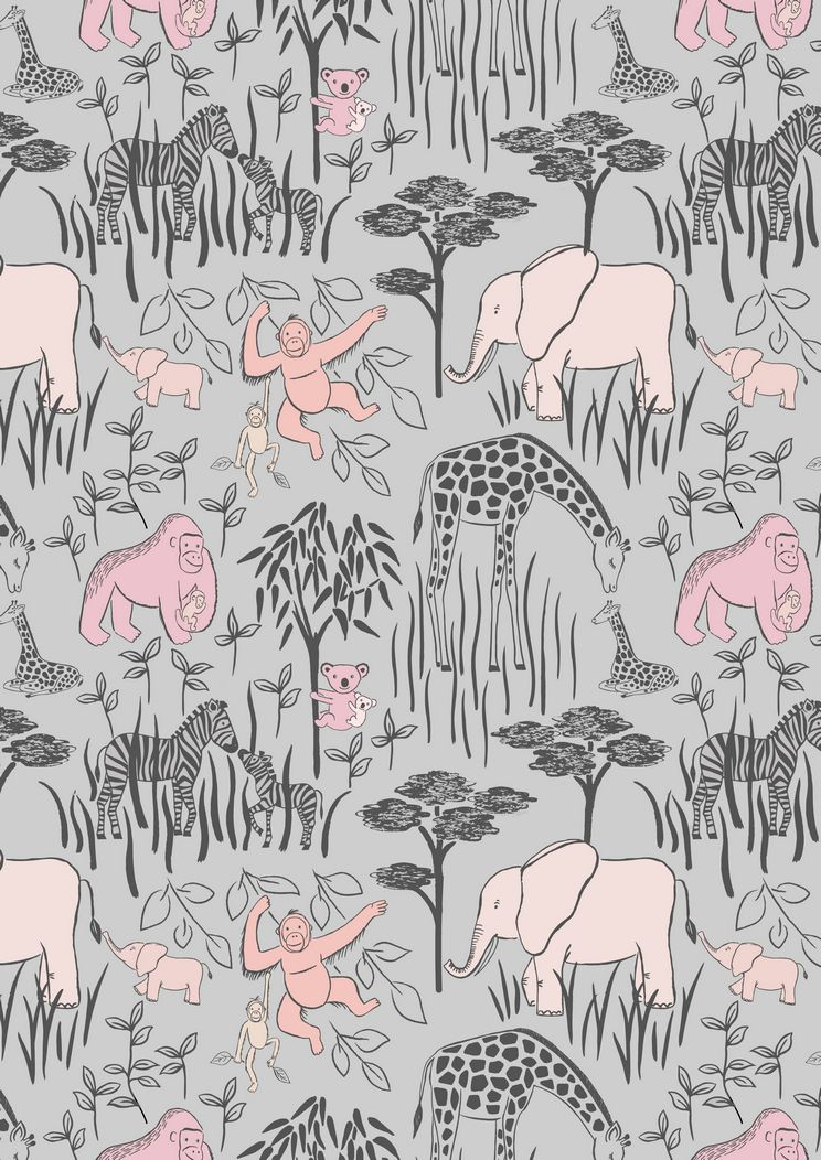 A214.3 - Animal parents with babies pink on grey