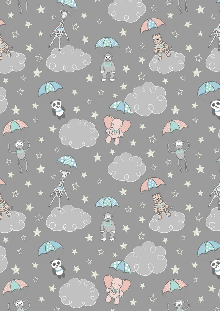 A215.3 - Parachuting babies on grey