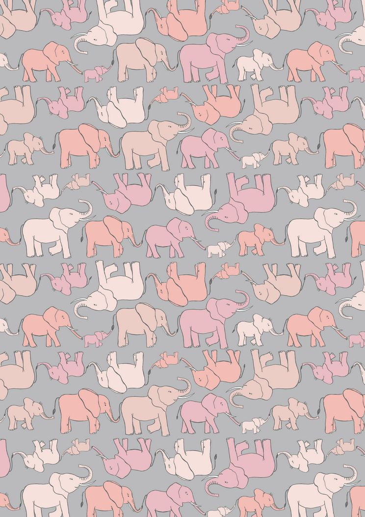 A216.2 - Marching elephant family pink on grey