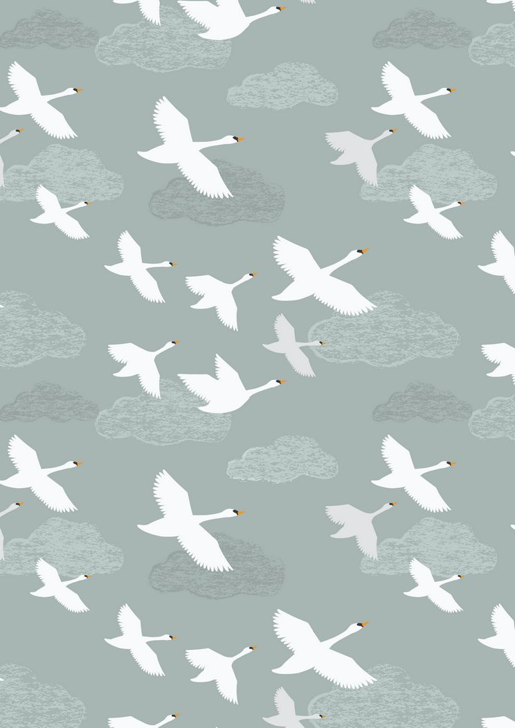 A221.1 - Swans in flight on pale grey / blue
