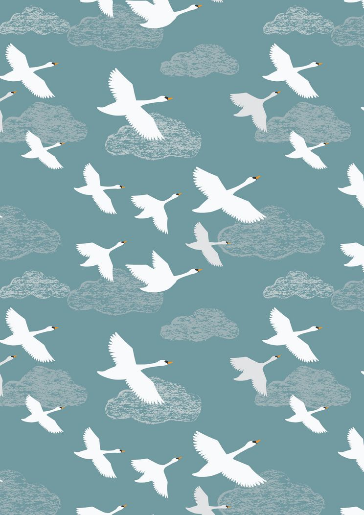 A221.2 - Swans in flight on teal
