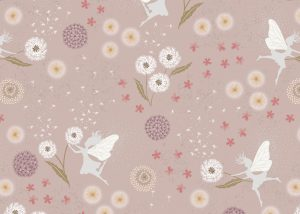 A505.1 - Fairy clocks on warm linen with silver metallic