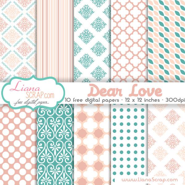 Free digital paper pack - Dear Love Set - LianaScrap
