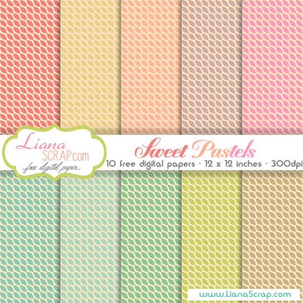 Free digital paper pack \u2013 Sweet Pastels Set - LianaScrap