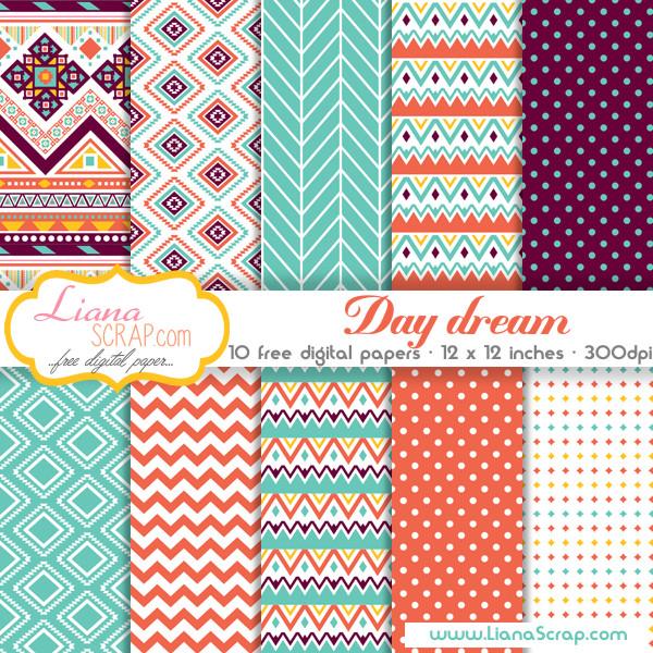 Free digital paper pack \u2013 Day Dream Set - LianaScrap