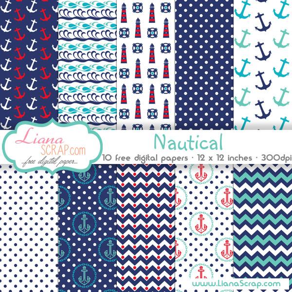 Free digital paper pack \u2013 Nautical Set - LianaScrap