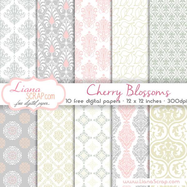 Free digital paper pack \u2013 Cherry Blossoms Set - LianaScrap