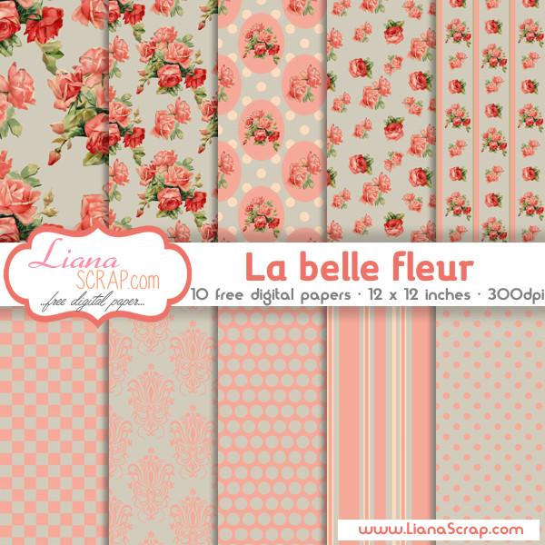 Shabby Chic free digital paper \u2013 La Belle Fleur - LianaScrap