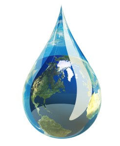 Water droplet with the earth in it