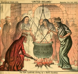 """The Cork Landlords Stirring up a Devil's Cauldron."" United Ireland, October 3, 1885. From the Irish Home Rule Political Cartoon Collection, American Catholic History Research Center and University Archives."