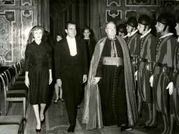 O'Connor escorting Mr. and Mrs. Nixon to an audience with Pope Paul VI, 1963. This was not Nixon's first or last papal audience nor O'Connor's first or last visit with Nixon.