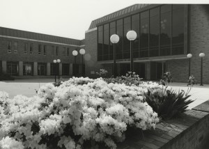 Hartke Theatre, named for Father Gilbert Hartke, was dedicated in 1970 and remains a lovely backdrop for azaleas in 2006.