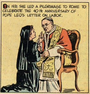 An excerpt relating to Bresette's 1931 Pilgrimage to Rome from the story about her in the September 23, 1953 issue of the Treasure Chest of Fun and Fact comic book, America Catholic History Research Center and University Archives.