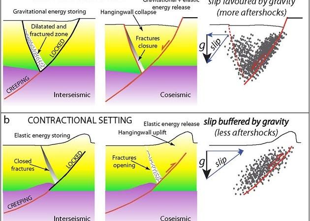 : (a) Modello geologico del possibile ciclo sismico (ossia periodi inter-sismici e cosismici), associato a una faglia normale (sequenza estensionale). (b) Modello geologico del ciclo sismico (ossia periodi inter-sismici e cosismici), associato a una faglia inversa (sequenza compressiva). In entrambi i modelli è stata assunta una velocità di deformazione costante nella crosta inferiore all'interfaccia duttile/fragile. Le sequenze tettoniche estensionali sono caratterizzate da una durata più lunga delle repliche, in quanto il sistema si muove a favore della gravità e, in questo caso, il volume di crosta interessato dalla fratturazione cosismica collassa fino a raggiungere un nuovo equilibrio gravitazionale