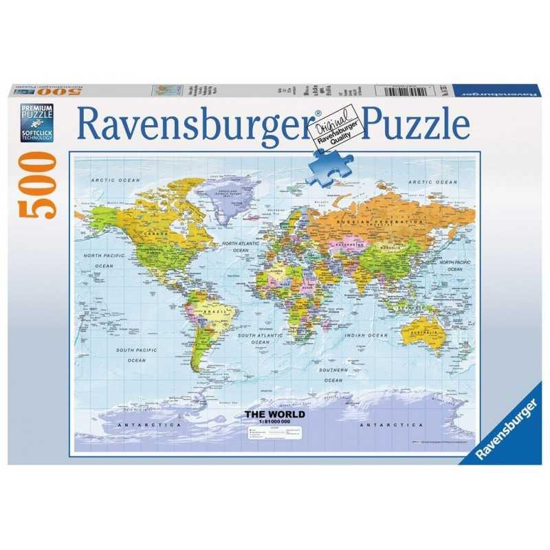 PUZZLE Ravensburger CARTINA POLITICA DEL MONDO soft click 500 PEZZI - cartina mondo