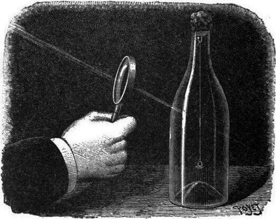 Cortar un hilo colgado dentro de una botella