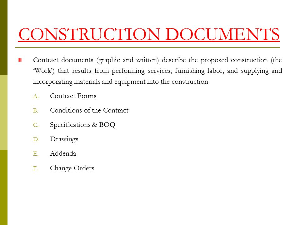 Construction Contract Document Conflict - The Law Offices of John - construction contract forms