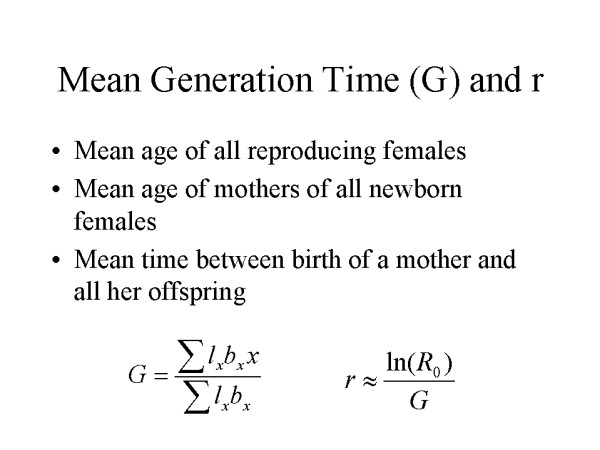 Mean Generation Time (G) and r