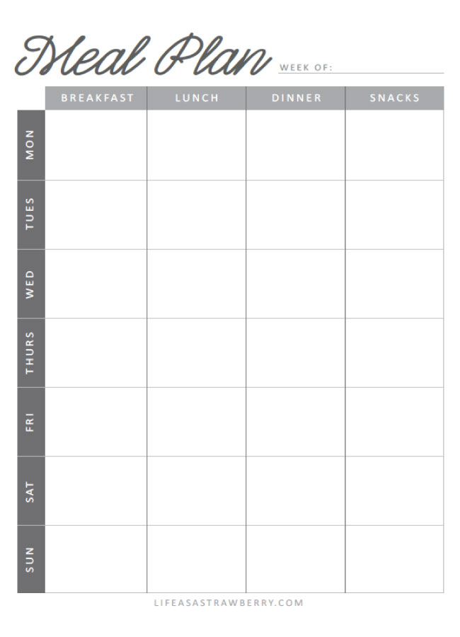 template for meal planning