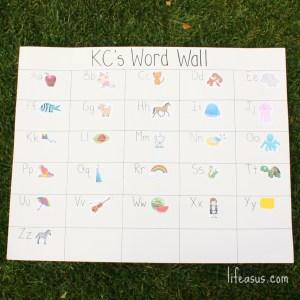 Easy and Fun DIY Word Wall! (lifeasus.com) #wordwall #learntospell #learntoread #homeschool #homeschooling #kindergarten #prekindergarten #prek #learn #learning #threeyearold #fouryearold #fiveyearold #education