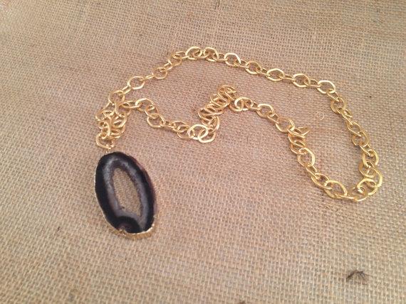 Black Geode Necklace by Cadorah Jewelry