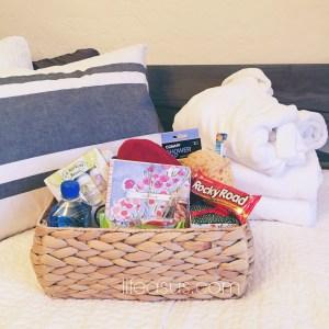 DIY Guest Basket (lifeasus.com) #guests #overnightguests #guestbasket #diy #diyguestbasket #welcomebasket
