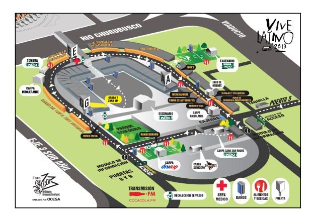 Mapa del Vive Latino 2013