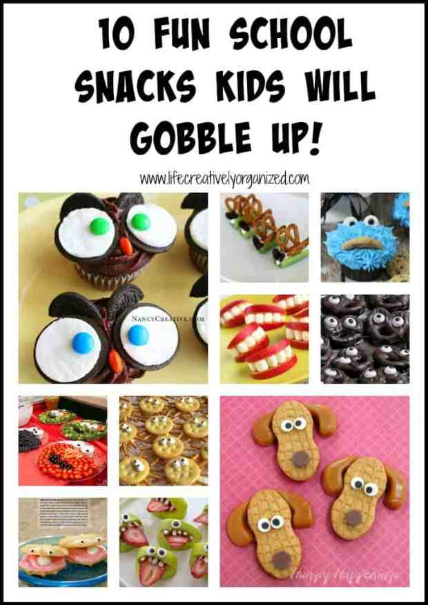 Here are 10 fun school snacks kids will gobble up. Great for classroom parties and other occasions too, like birthday parties or Halloween!