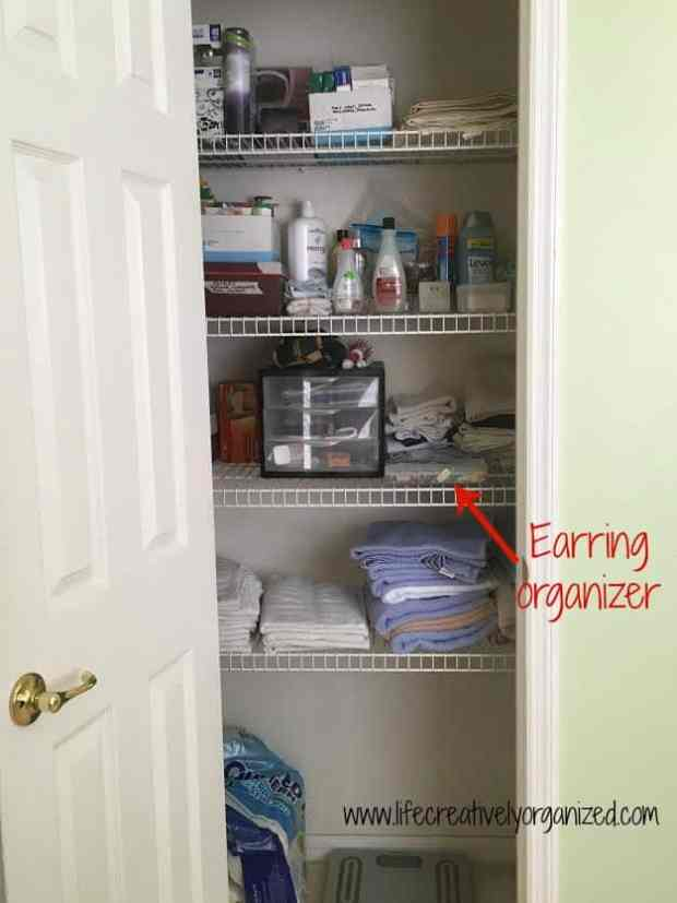 Easy way to organize earrings. Here is a great way to organize hundreds of pairs of earrings, and it stores neatly on a shelf or in a drawer. A tackle box.