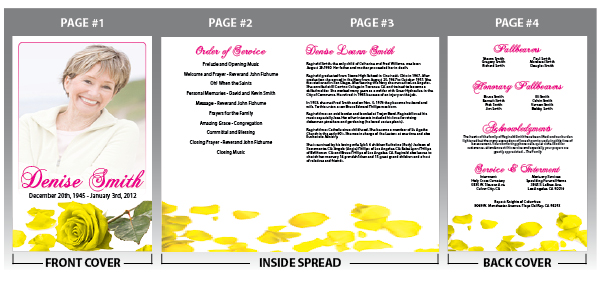 Customize online this memorial program with a yellow rose background