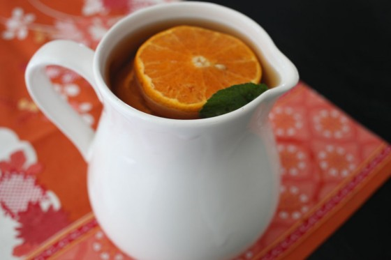 tangerine green tea in pitcher