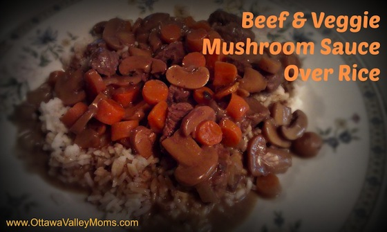 beef & veggie mushroom sauce over rice