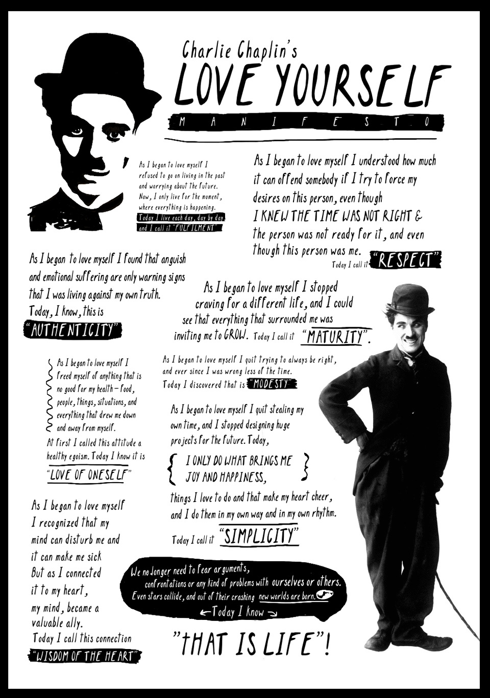 Musical Birthday Quotes Wallpapers Charlie Chaplin As I Began To Love Myself Life In The
