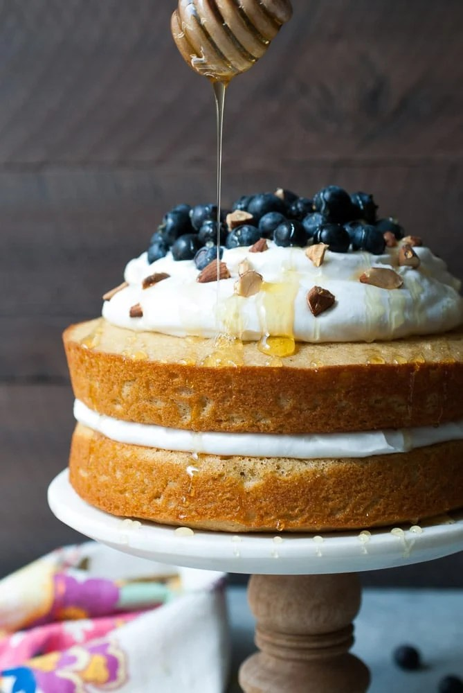 Lemon Blueberry Olive Oil Cake w/ Coconut Whipped Cream