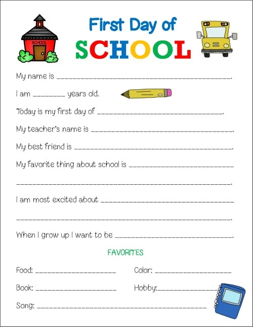 First Day of School Printable Worksheet - Life is Sweeter By Design