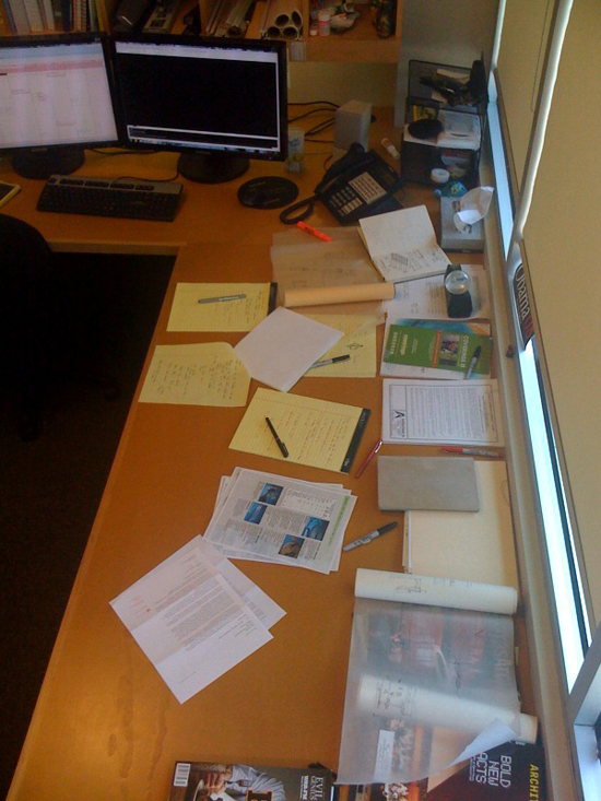 the desk of architect Bob Borson