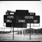 Small town baseball scoreboard