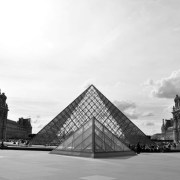 The Louvre Entry by I.M. Pei at late afternoon