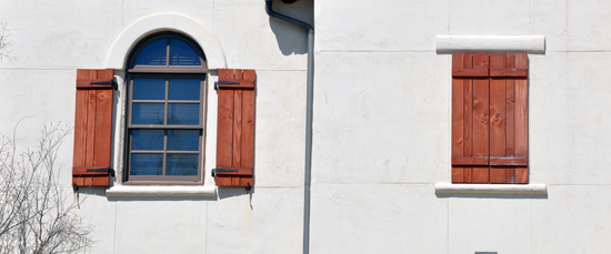 Bad shutters on a building