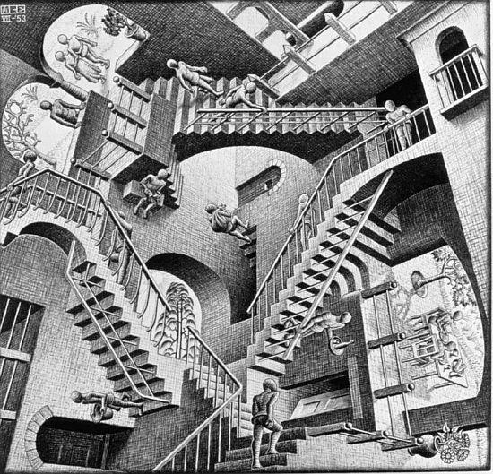 """M C Escher drawing """"Relativity"""""""