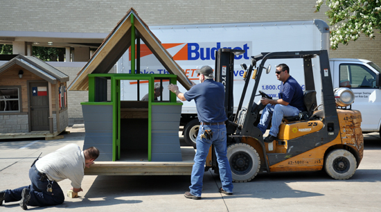 Playhouse being unloaded