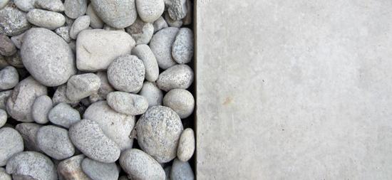 river rock and concrete