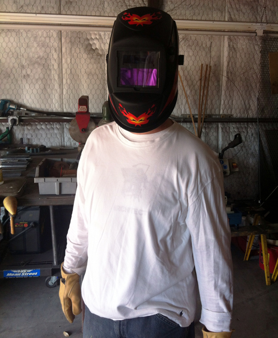 Bob in welding mask
